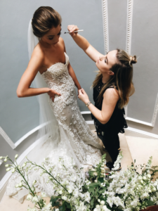 marie doing brides makeup