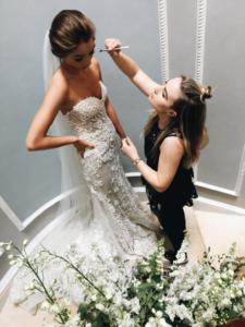 marie doing brides makeup